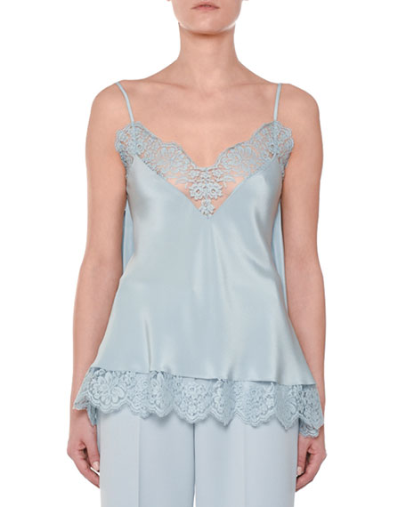 V-Neck Tie-Back Silk Satin Camisole w/ Lace Trim