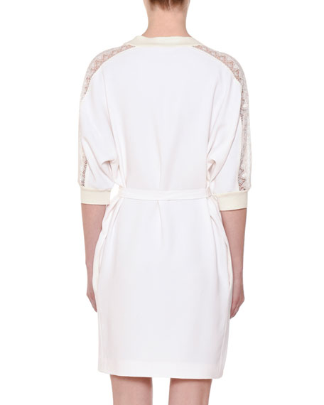 Elbow-Sleeve Belted Shift Dress w/ Lace Yoke