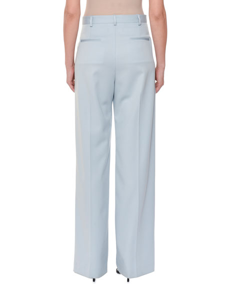 Flat-Front Wide-Leg Wool Trousers