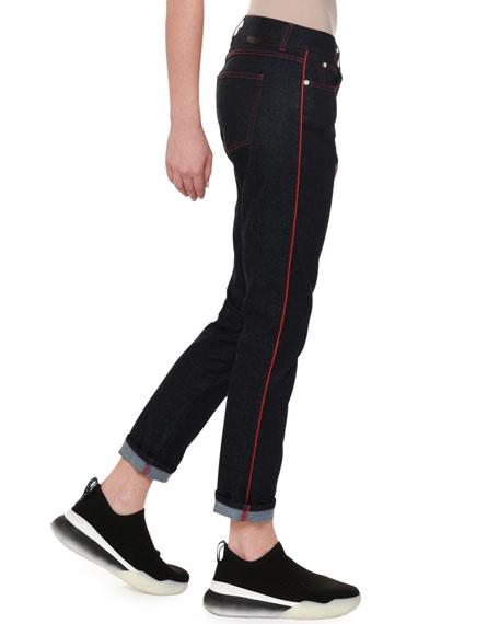 Skinny Boyfriend Jeans with Contrast Stitching