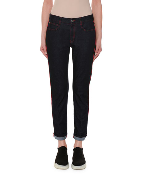 Stella McCartney Skinny Boyfriend Jeans with Contrast Stitching