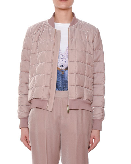 Stella McCartney Quilted Zip-Front Puffy Bomber Jacket w/