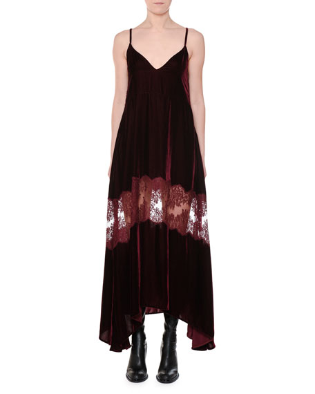 V-Neck Cami-Strap Velvet Evening Dress W/ Lace Inset, Burgundy