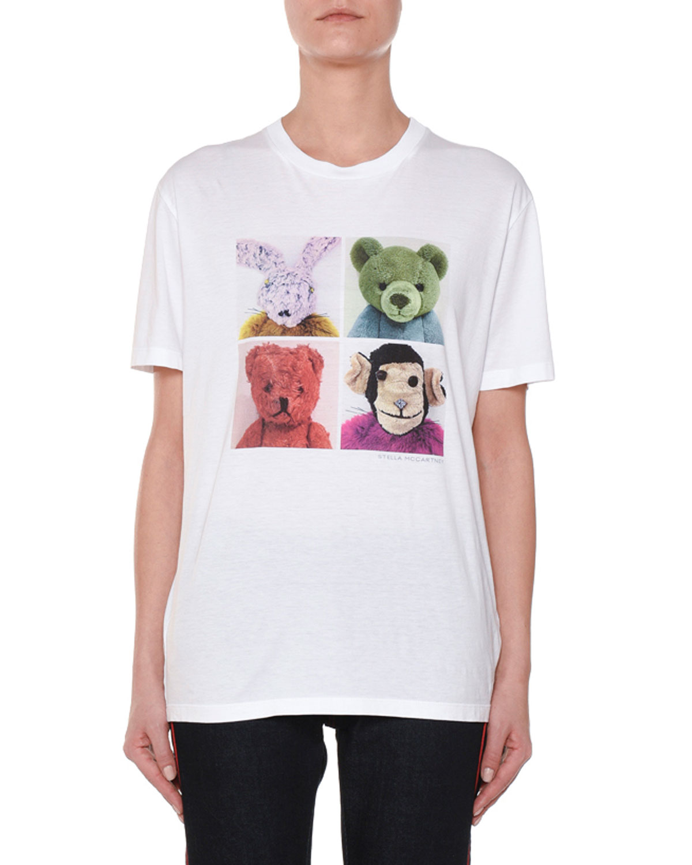 Stella Mccartney 4 Square Stuffed Animal Crewneck Cotton T Shirt