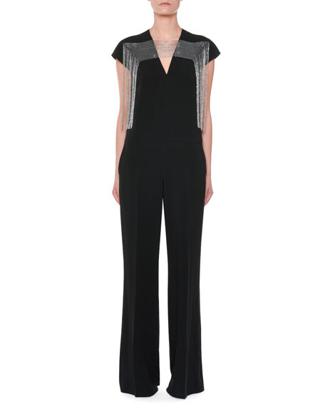 Cap-Sleeve Multi-Chain Yoke Wide-Leg Jumpsuit