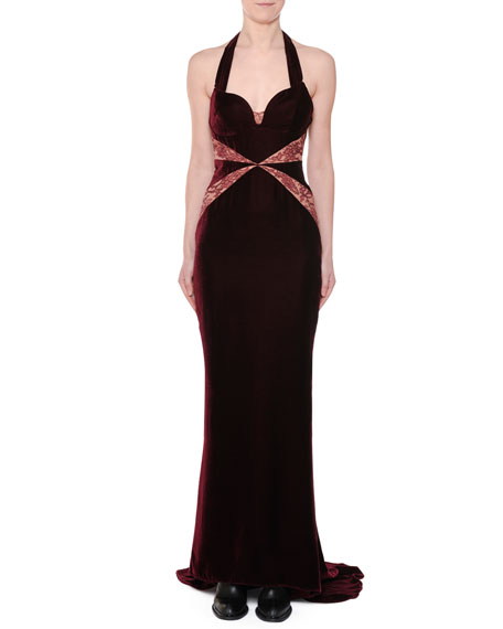 Sweetheart-Neck Lace-Inset Velvet Evening Gown