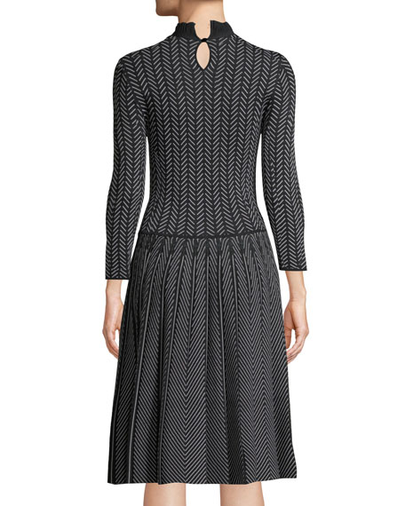 Long-Sleeve Fit-and-Flare Chevron-Print Knit Jacquard Dress