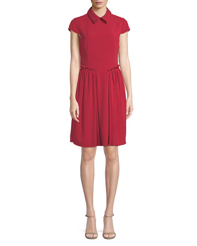 Cap-Sleeve Collared A-Line Dress w/ Ruffled Trim