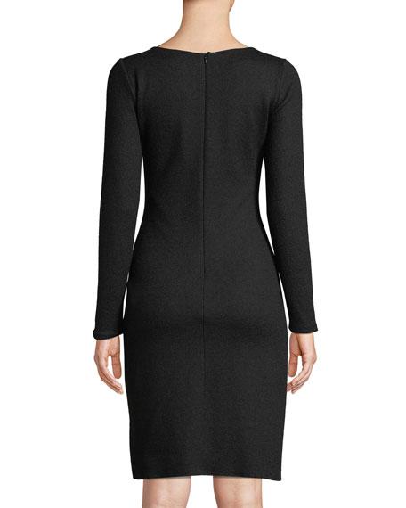 Long-Sleeve Faux-Wrap Wool-Blend Dress w/ Metal Adornment