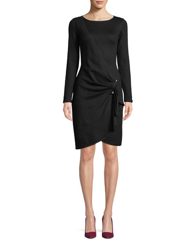 Long-Sleeve Faux-Wrap Wool-Blend Dress w/ Metal Adornment