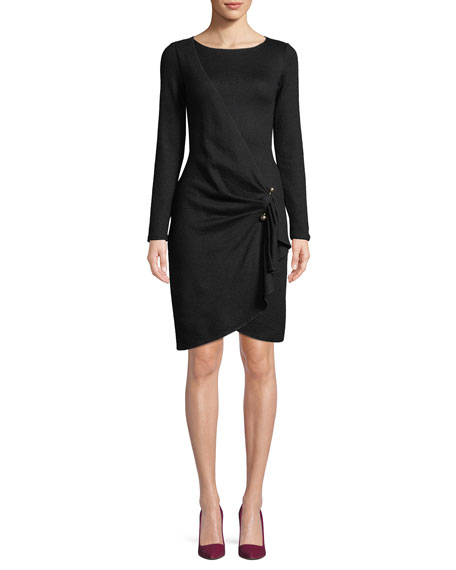 Emporio Armani Long-Sleeve Faux-Wrap Wool-Blend Dress w/ Metal