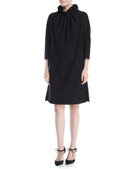 Ruched High-Collar Easy Belted Tech Cady Dress