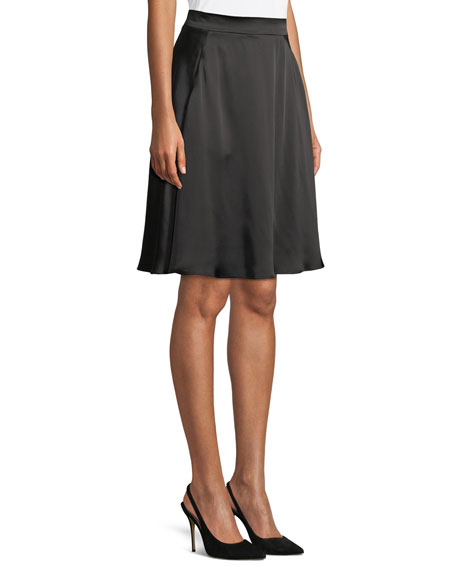 Satin A-Line Knee-Length Skirt