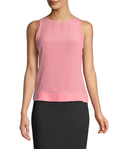 Sleeveless Round-Neck Silk Shell w/ Belted Back