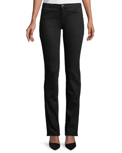 Five-Pocket Mid-Rise Straight-Leg Jeans