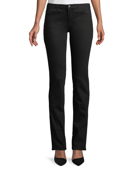 Five-Pocket Mid-Rise Straight-Leg Jeans