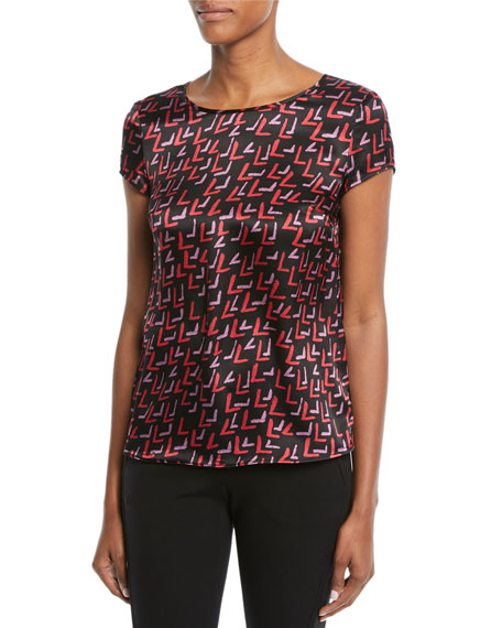 Crewneck Cap-Sleeve Check-Print Silk Blouse