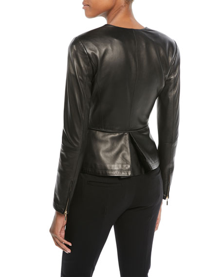 Zip-Front Pleated Leather Jacket w/ Tie Detail