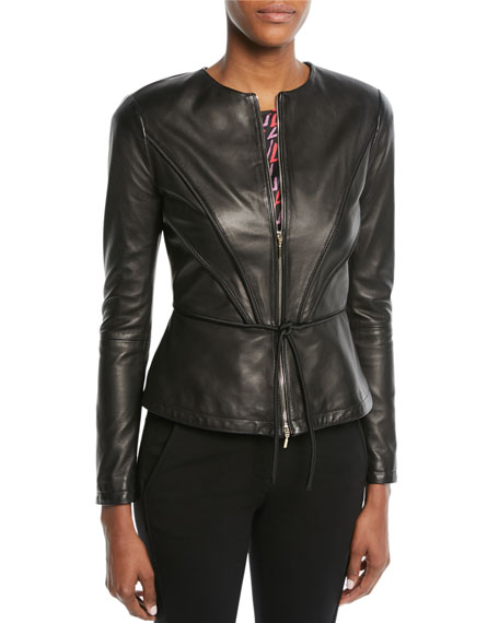 Emporio Armani Zip-Front Pleated Leather Jacket w/ Tie