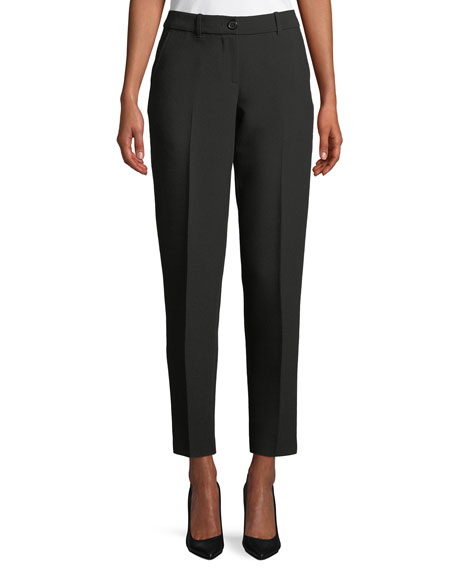 Zip-Front Classic Stretch Cigarette Pants