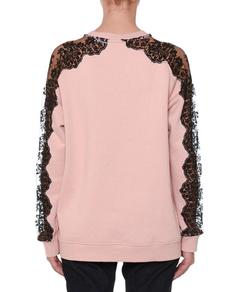 Crewneck Long-Sleeve Pullover Sweatshirt with Lace Inset