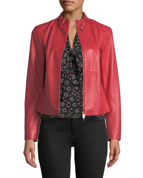 Emporio Armani Rosso Zip-Front Leather Jacket and Matching