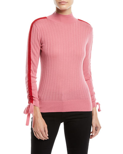 Mock-Neck Ruched Sport-Stripe Long-Sleeve Ribbed Wool Top