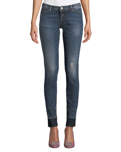 Distressed Skinny Jeans w/ Contrast Hem