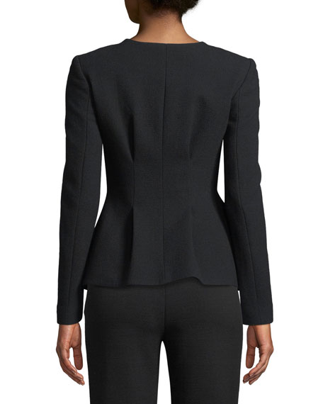 Snap-Closure Stretch-Wool Crepe Peplum Jacket