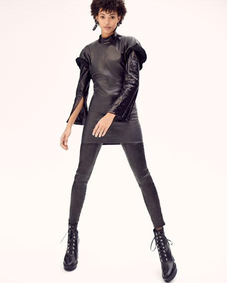 Crewneck Short-Sleeve Lamb Leather Mini Dress
