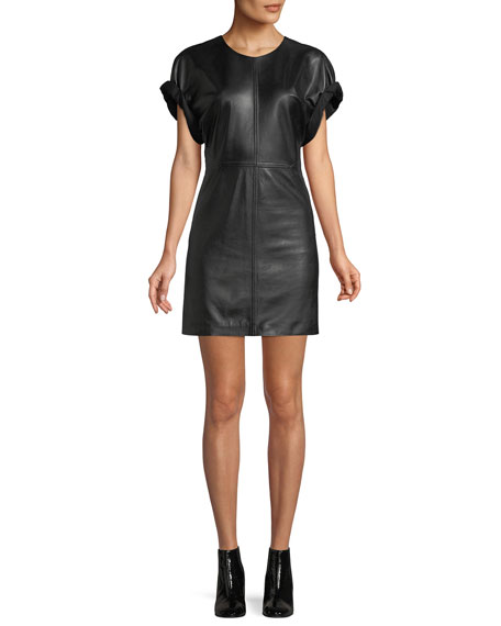 Isabel Marant Crewneck Short-Sleeve Lamb Leather Mini Dress