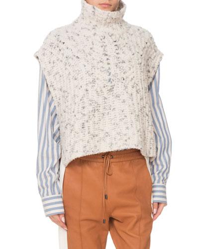 Judlow Turtleneck Wool Chunky-Knit Vest w/ Side Buttons