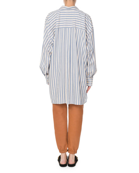Maca Button-Down Long-Sleeve Striped Oversize Blouse