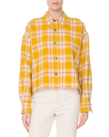 Hanao Button-Front Check Quilted Wool Shirt