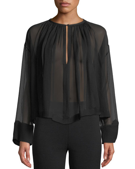 Long-Sleeve Crinkle Chiffon Sheer Trapeze Blouse