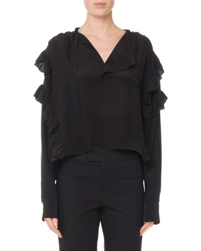 Libel Tie-Neck Ruffled Silk Blouse