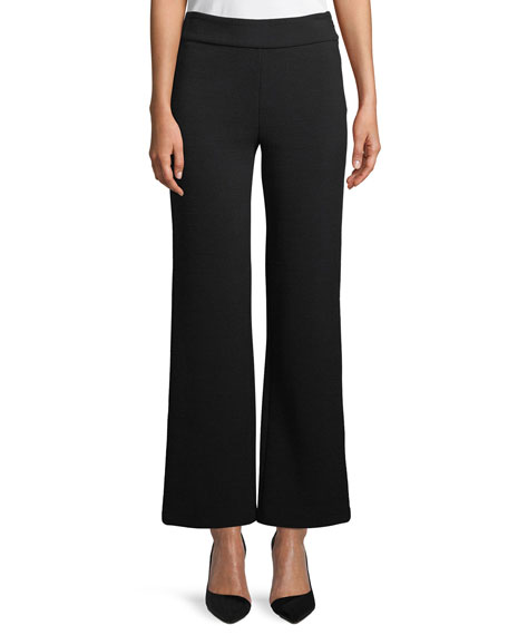 Side-Zip Textured Stretch-Jersey Flared-Leg Pants