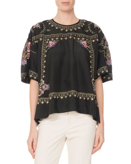 Dante Short-Sleeve Embroidered Silk Tunic