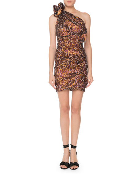 One-Shoulder Metallic-Jacquard Mini Cocktail Dress