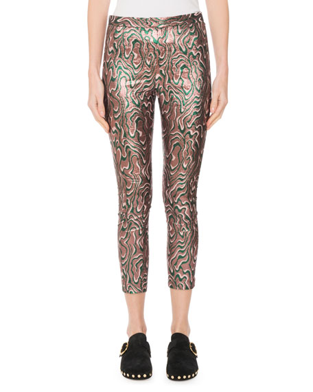 Sevada Cropped Metallic Jacquard Stretch Leggings