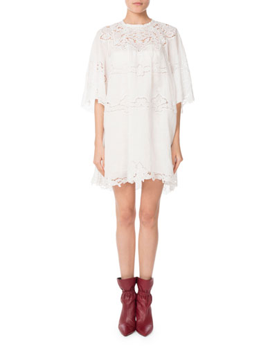 Marlone Half-Sleeve Cutout Lace Mini Shift Dress