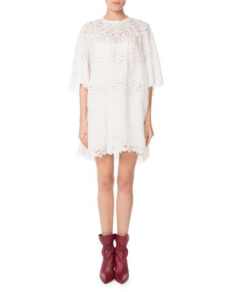Marlone Half-Sleeve Cutout Lace Mini Shift Dress