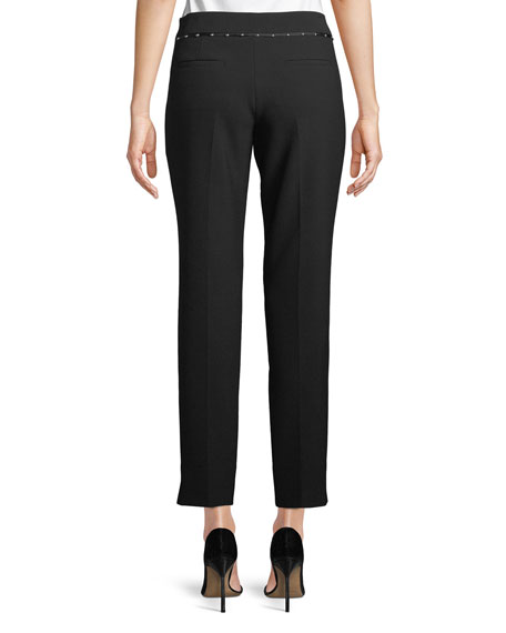 Stretch-Jersey Straight-Leg Crop Pants w/ Beaded Ribbon Trim