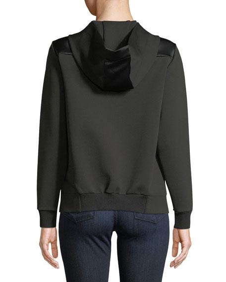 Zip-Front Hoodie w/ Logo & Satin Trim