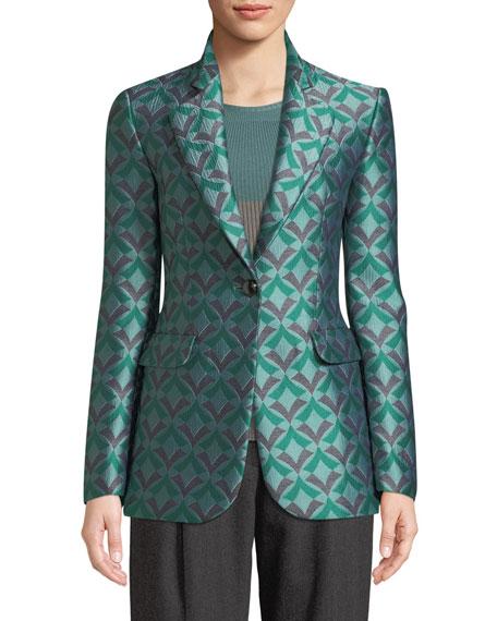 One-Button Geometric Jacquard Classic Jacket
