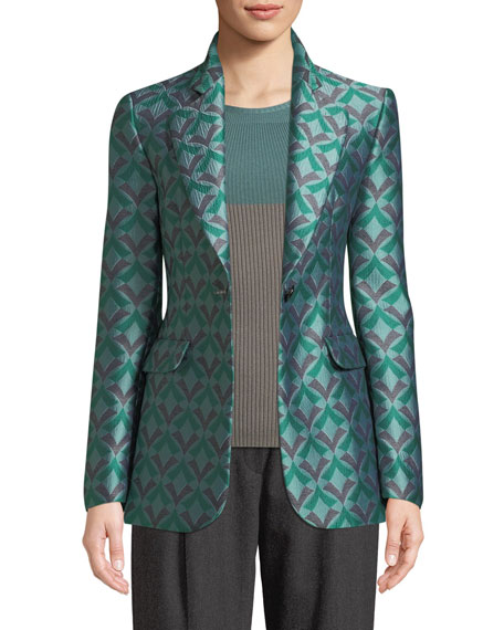 One-Button Geometric Jacquard Classic Jacket