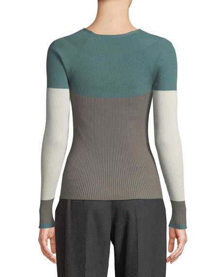Crewneck Long-Sleeve Colorblocked Ribbed Knit Top