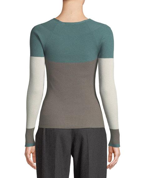 Crewneck Long-Sleeve Colorblocked Ribbed Knit Top