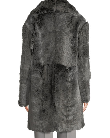 Reversible Leather Shearling Fur Long Coat