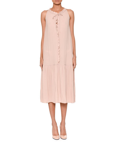 Bottega Veneta Sleeveless Tie-Neck Ruffled-Front Shift Dress w/